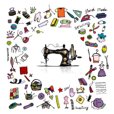 máquina de coser: Conjunto de costura, boceto de su diseño. ilustración vectorial