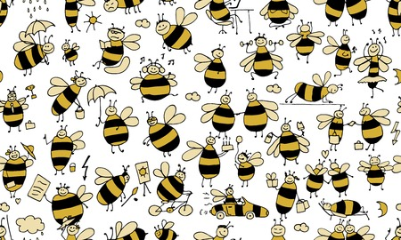 Funny bees, seamless pattern for your design. Vector illustration