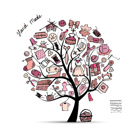 Sewing tree, sketch for your design. Vector illustration