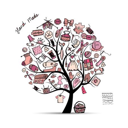 coser: árbol de coser, boceto de su diseño. ilustración vectorial Vectores
