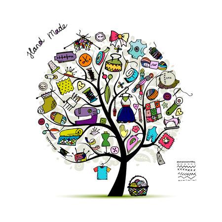 Drzewo szycie, szkic do projektowania. ilustracji wektorowych