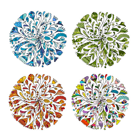 Cuatro estaciones. ornamento floral del círculo, croquis dibujado a mano para su diseño. ilustración vectorial