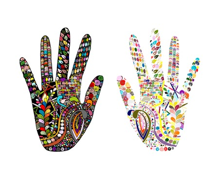 palmistry: Floral palm, hand drawn style for our design. Vector illustration