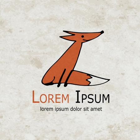 Funny fox design on grunge paper. Vector illustration