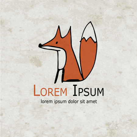 tail: Funny fox design on grunge paper. Vector illustration