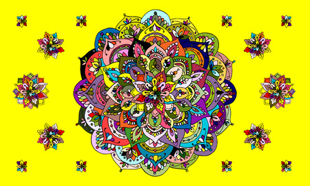 marcos redondos: Mandala ornament, colorful pattern for your design. Vector illustration