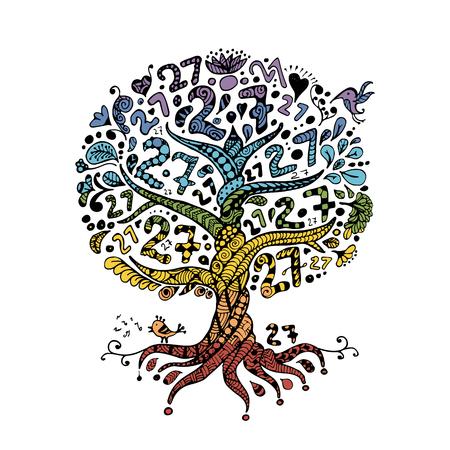 Árbol 27 con las raíces para su diseño. Ilustración del vector Ilustración de vector