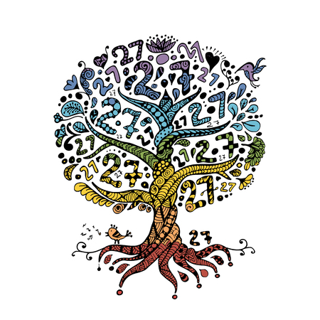 Tree 27 with roots for your design. Vector illustration