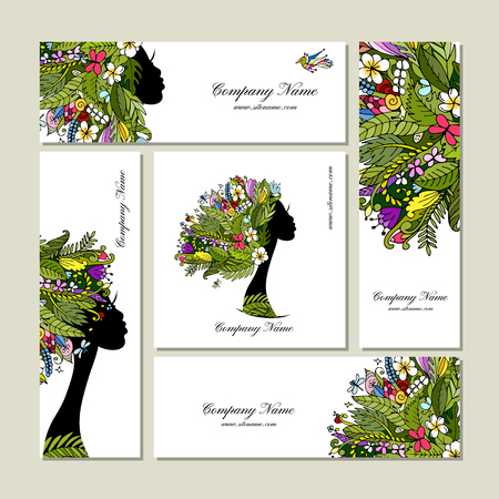 Business cards, tropical girl for your design. Vector illustration