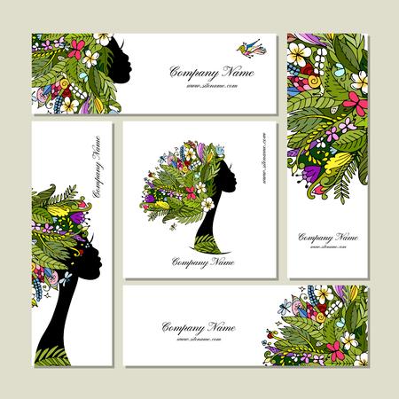 Visitekaartjes, tropische meisje voor uw ontwerp. vector illustratie
