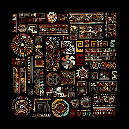 ornamento etnici fatti a mano per la progettazione. illustrazione di vettore Vettoriali