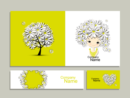 feminity: Business cards with floral girl for your design. Vector illustration