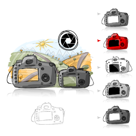 big and small: Big and small camera, sketch for your design. Vector illustration Illustration