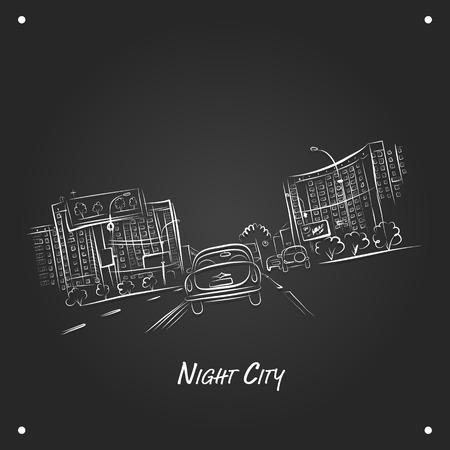 city road: Cars on night city road, sketch for your design. Vector illustration