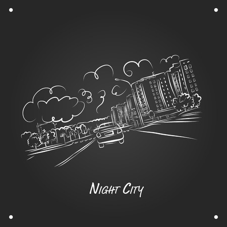 variety: Cars on night city road, sketch for your design. Vector illustration