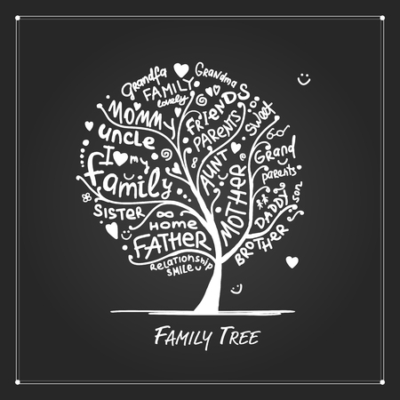Family tree sketch for your design, vector illustration