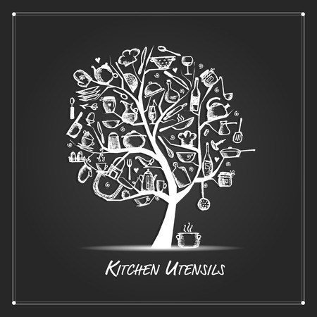 coffee tree: Art tree with kitchen utensils, sketch drawing for your design. Vector illustration