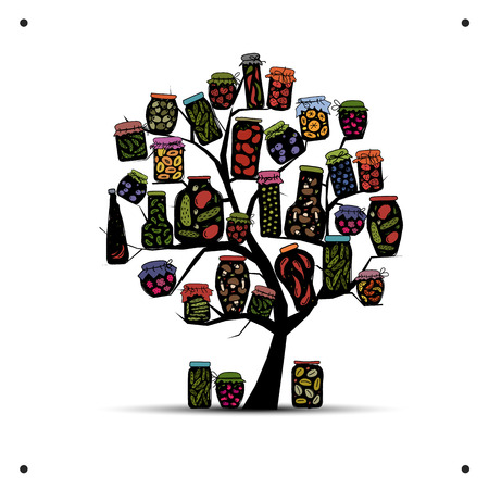 pickle: Art tree with pickle jars for your design. Vector illustration