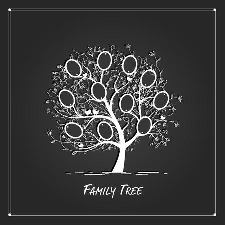 arbol genealógico: Diseño del árbol de familia, insertar tus fotos en cuadros. ilustración vectorial Vectores
