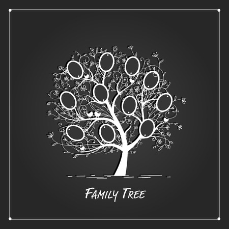 Family tree design, insert your photos into frames. Vector illustration
