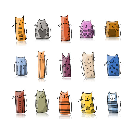 Funny cats collection, sketch for your design. Vector illustration