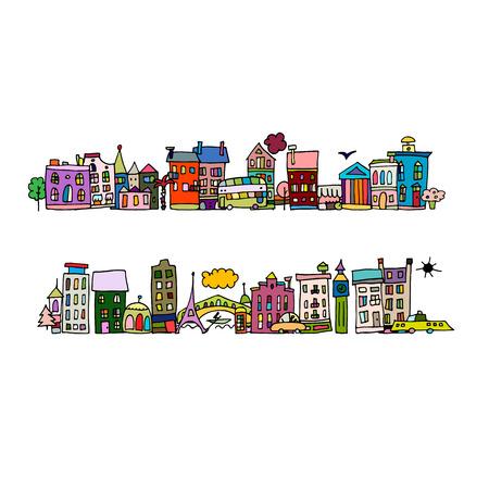 European city street, sketch for your design. Vector illustration
