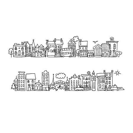 city street: European city street, sketch for your design. Vector illustration