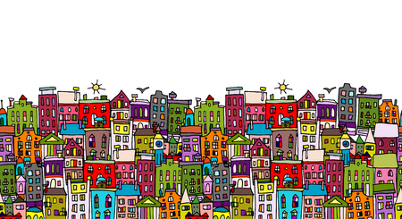 old windows: European cityscape, seamless pattern for your design. Vector illustration