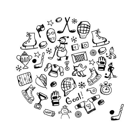 childish: Hockey banner, sketch for your design. Vector illustration