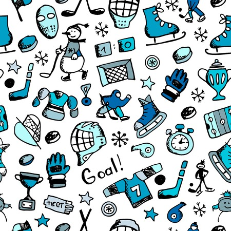 ice rink: Hockey seamless pattern, sketch for your design. Vector illustration