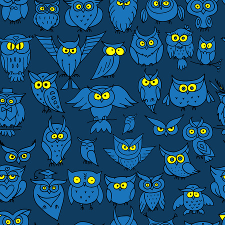 party night: Funny owls, seamless pattern for your design. Vector illustration