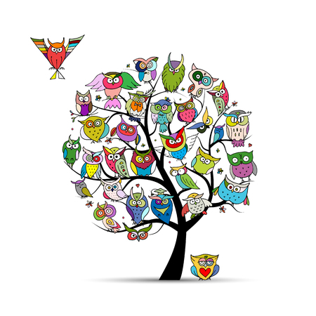 Owl tree for your design. Vector illustration Illustration
