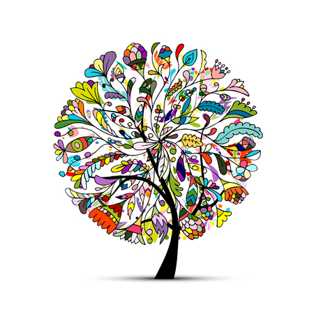 Art tree beautiful for your design. Vector illustration