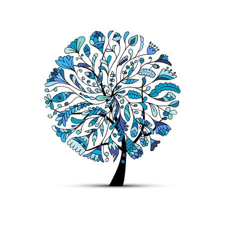 tree design: Art tree, winter concept for your design. Vector illustration Illustration