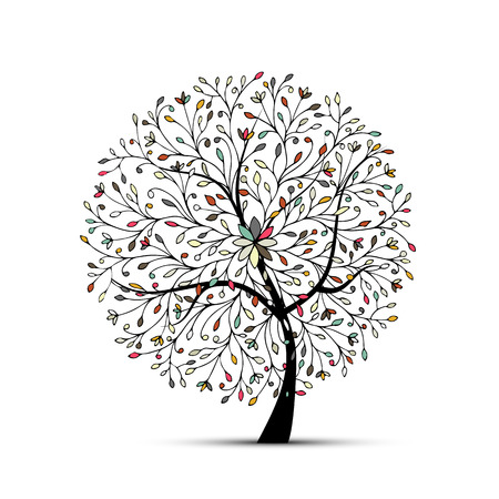 isolated tree: Abstract floral tree for your design. Vector illustration