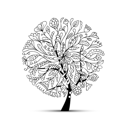 あなたのデザインの美しい芸術の木。ベクトル図