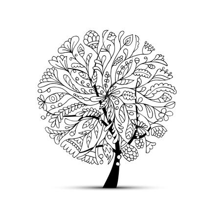 Kunst Baum schön für Ihr Design. Vektor-Illustration Standard-Bild - 60762517
