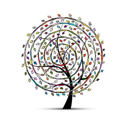 Spiral floral tree for your design. Vector illustration