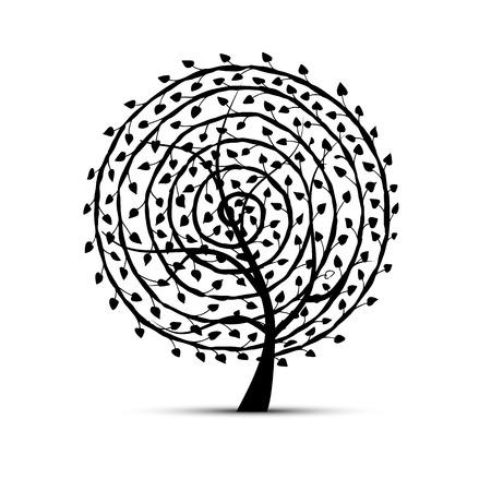 flower leaf: Spiral floral tree for your design. Vector illustration