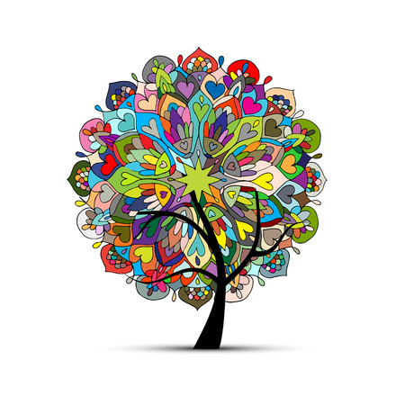 Mandala tree, floral sketch for your design. Vector illustration