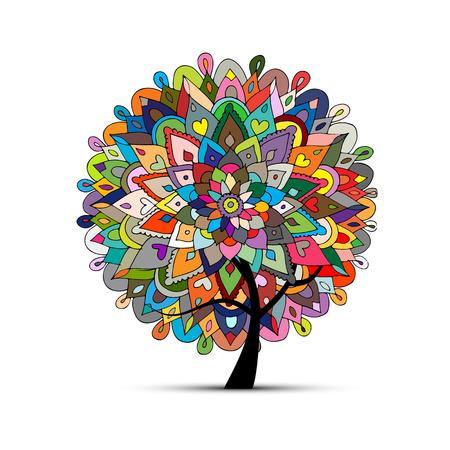 Mandala tree, floral sketch for your design. Vector illustration