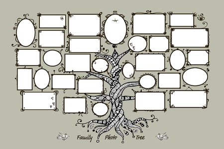 Modèle d'arbre de famille avec des cadres. Insérez vos photos. Vector illustration Banque d'images - 60762621