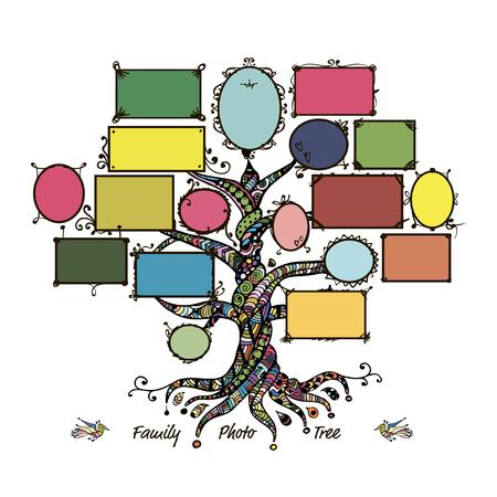 Modèle d'arbre de famille avec des cadres. Insérez vos photos. Vector illustration Banque d'images - 60762622