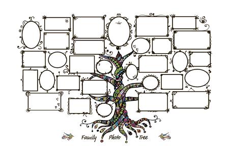 Drzewo genealogiczne szablon z ramki do zdjęć. Wstawianie zdjęć. ilustracji wektorowych