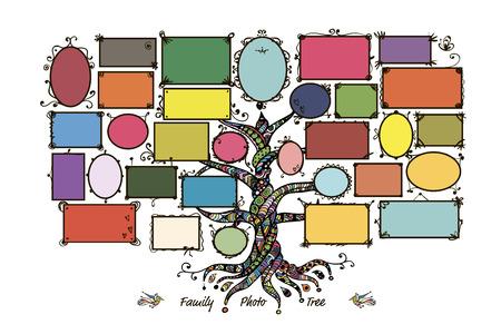 Stammbaum Vorlage mit Bilderrahmen. Legen Sie Ihre Fotos. Vektor-Illustration