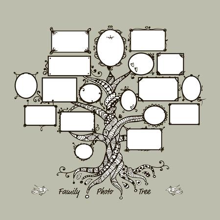 Modèle d'arbre de famille avec des cadres. Insérez vos photos. Vector illustration Banque d'images - 60762624