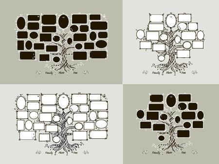 arbol genealógico: Plantilla árbol genealógico con marcos de cuadros. Insertar las fotos. ilustración vectorial