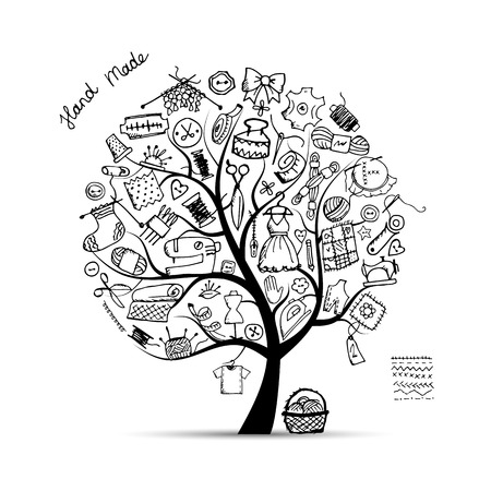 Sewing tree, sketch for your design. Vector illustration Reklamní fotografie - 60762634