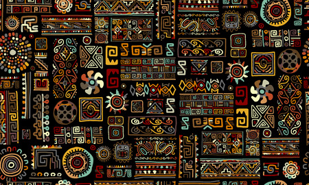 Ethnic handmade ornament, seamless pattern, vector illustration Çizim