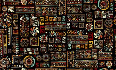 Ethnic handmade ornament, seamless pattern, vector illustration Vettoriali